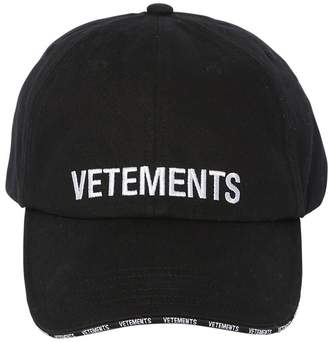 Vetements LOGO EMBROIDERED DISTRESSED BASEBALL CAP