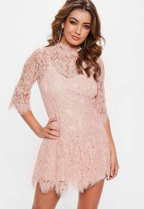 Missguided Rose Pink Lace Frill Sleeve High Neck Shift Dress, Rose
