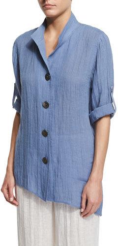 Caroline RoseCaroline Rose Crinkled Linen Angled Shirt, Blue Mist, Plus Size