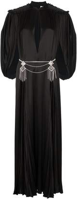bac7a32f934 Gucci cape sleeve open front crystal-embellished belted gown