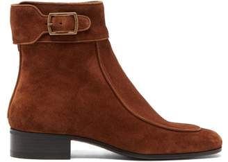 Saint Laurent Miles Buckled Suede Boots - Womens - Tan