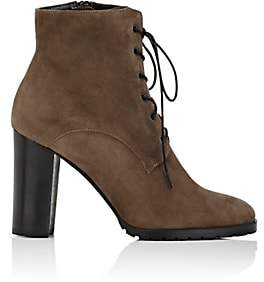 Barneys New York WOMEN'S LUG-SOLE SUEDE ANKLE BOOTS - GRAY SIZE 7