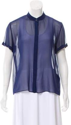 Alice + Olivia Semi-Sheer Short Sleeve Top