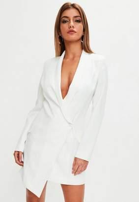 Missguided White Asymmetric Blazer Dress