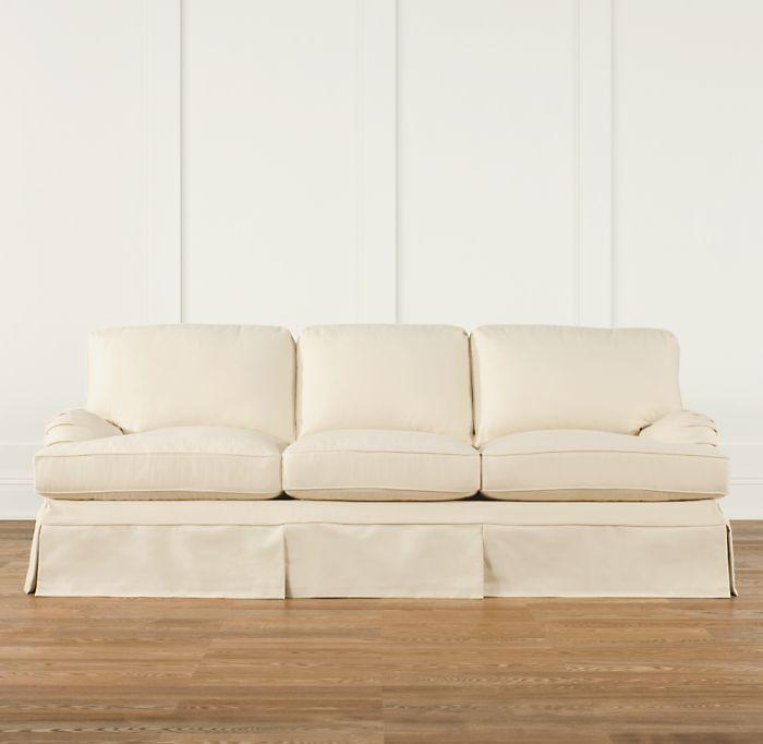 English Roll Arm Slipcovered Studio Sofa