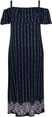 Evans Navy Blue Printed Bardot Dress