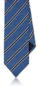Barneys New York MEN'S STRIPED TEXTURED SILK NECKTIE-LT. BLUE