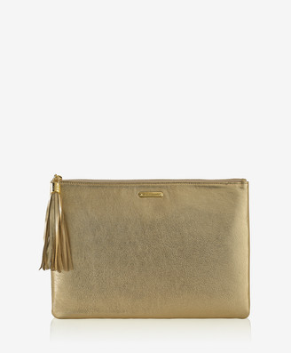 GiGi New York Uber Clutch, Gold Metallic Goatskin Leather