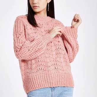 River Island Pink knit round neck embellished sweater