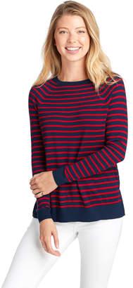 Vineyard Vines Striped Zip Back Crewneck Sweater