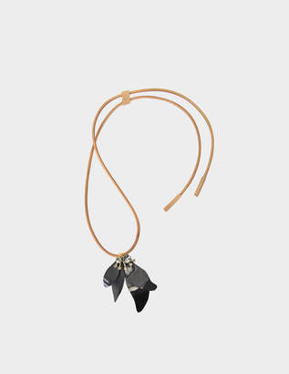 Marni Horn and crystals Leaves necklace