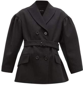 Simone Rocha Double Breasted Belted Twill Blazer - Womens - Black