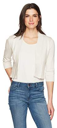Ronni Nicole Women's 3/4 Sleeve Shrug with Pointelle Contrast Trim