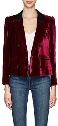 Masscob Women's Marion Velvet Double-Breasted Crop Blazer