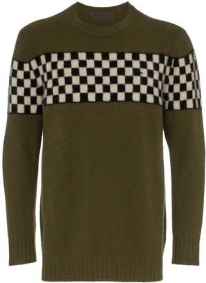 The Elder Statesman checkerboard-stripe cashmere jumper