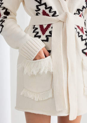 Southwestern Knit Belted Cardigan