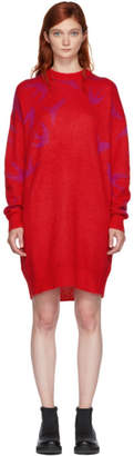 McQ Red and Pink Swallow Swarm Dress