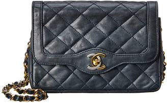 Chanel Navy Quilted Lambskin Leather Small Border Tab Bag