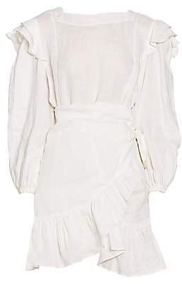 Etoile Isabel Marant Women's Telicia Long-Sleeve Ruffle Linen A-Line Wrap Dress