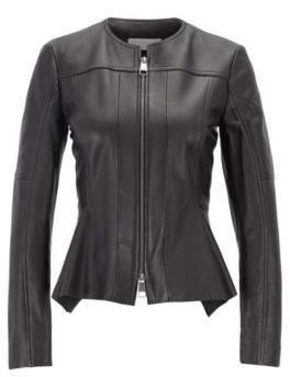 BOSS Hugo Sim-fit biker jacket in nappa lambskin zipper 4 Black