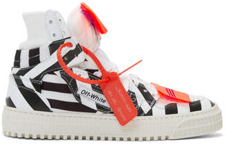 Off-White Off White White and Black Striped 3.0 Off-Court Sneakers