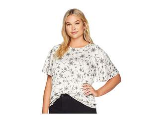 Vince Camuto Specialty Size Plus Size Ruffled Short Sleeve Faux Stitch Floral Blouse