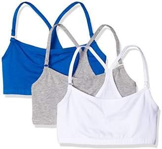 Bestform Women's Junior 3 Pack Cotton Blend Racerback Crop Bra,Extra Large