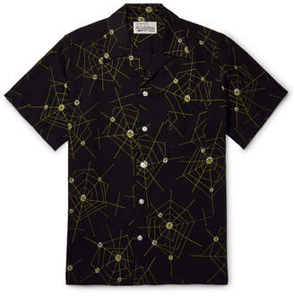 Wacko Maria Atomic Spider Camp-Collar Printed Lyocell Shirt