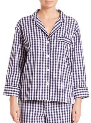 Sleepy Jones Marina Large Gingham Pajama Shirt