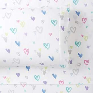 Pottery Barn Teen Bright Heart Organic Flannel Sheet Set, Extra Pillowcases, Set of 2, Multi