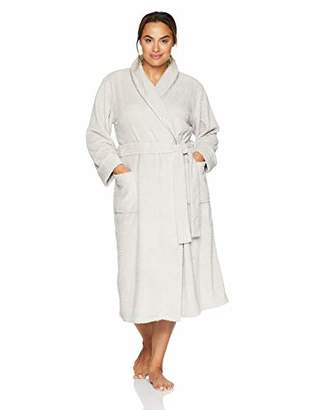 Arabella Women's Plus Size Shawl Collar Textured Plush Long Robe with Satin Trim