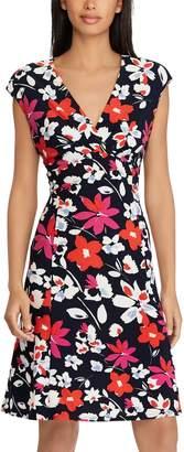 Chaps Women's Floral Surplice Empire Dress