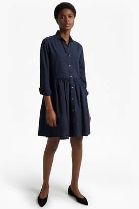 French Connection Indigo Cross Long Sleeved Gathered Shirt Dress