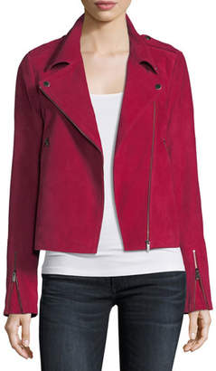 Neiman Marcus Leather Collection Zip-Front Suede Moto Jacket