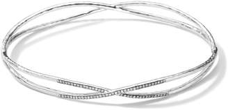 Ippolita Sterling Silver 2 Crisscross Wire Diamond Bangle