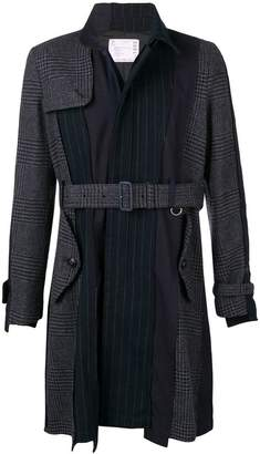 Sacai belted patchwork trench coat