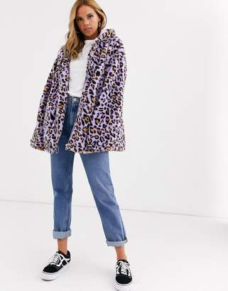 Daisy Street oversized hoodie in bright leopard faux fur