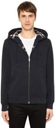 Burberry Zip-Up Cotton Sweatshirt W/ Check Lining