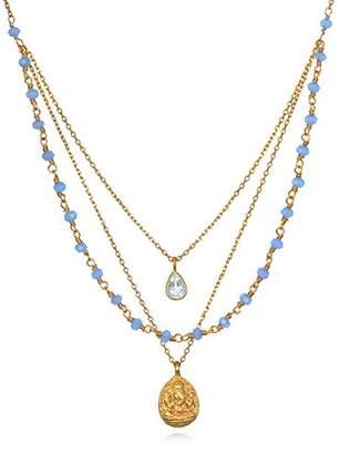 Satya Jewelry Womens Chalcedony Gold Ganesha Pendant Necklace 20-Inch