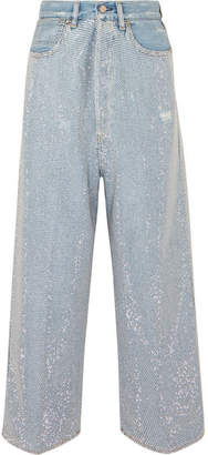 Golden Goose Breezy Cropped Studded High-rise Wide-leg Jeans - Mid denim