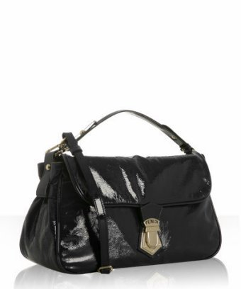 Fendi black patent leather shoulder bag