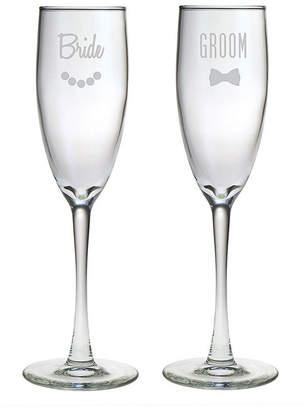 Susquehanna Glass Set Of Two 5.75Oz Bride & Groom Champagne Flutes