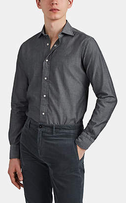 Bolzonella 1934 Men's Cotton Chambray Snap-Front Shirt - Black