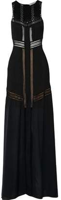 A.L.C. Isbert Crochet-Paneled Pleated Silk Maxi Dress
