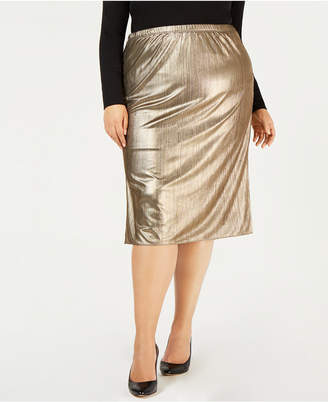 b67c85bdaff0c NY Collection Plus Size Metallic Pleated Midi Skirt
