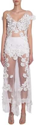 Amen Long Dress With Applied Flowers