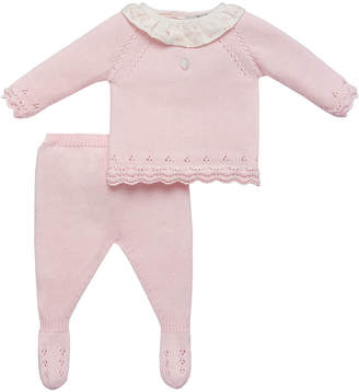 Carrera Pili Ruffle-Collar Sweater w/ Footed Leggings, Size 1-12 Months