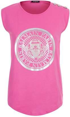 Balmain Sleeveless Hologram Logo T-Shirt