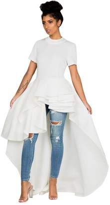 Yihaojia Women Dress Women Dress Short Sleeve Solid Color Bodycon High Low Peplum Dress Party Club Dress (XL, )