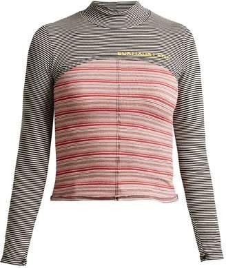 Eckhaus Latta High-neck striped cotton-blend top